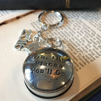 Graduation Gift Compass Keychain Dr. Seuss Oh the Places You'll Go