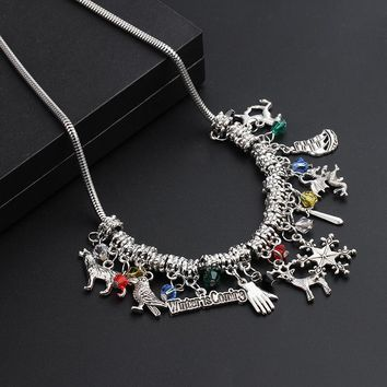 Game of Thrones Pendant Necklace Christmas Gift Deer with Snowflake DIY Handmade charm cryatal Jewelry Friendship Gifts