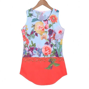 Hot Style Sexy Women Sleeveless O-neck Floral Sundress Mini Dress