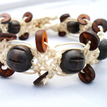 Brown Wood Beaded Chunky Ankle Bracelet Anklet Owl Button