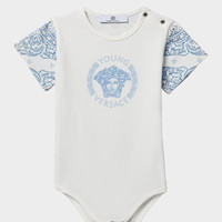 Young Versace Bodysuit With Logo Print for New Born | US Online Store