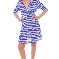 Plus Size White Blue Geometric Wrap Mini Dress
