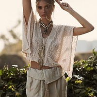 Free People Womens Slubby Poncho Sweater