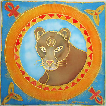 mandala art, The Cougar, shamanic art, animal guide art, cougar art, metaphysical, spiritual, meditation art