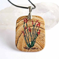 Ocotillo Desert Bloom - Engraved Stone Pendant by CreativeArtandSoul