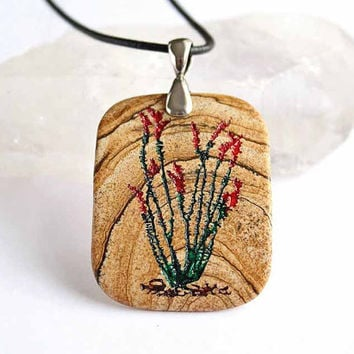 Ocotillo Engraved Stone Pendant Picture Jasper by CreativeArtandSoul