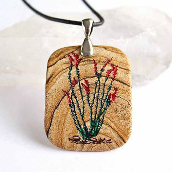 Ocotillo Desert Splendor -  Engraved Stone Pendant by CreativeArtandSoul
