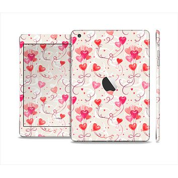 The Pink, Red and Tan Heart Balloon Pattern Skin Set for the Apple iPad Mini 4