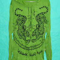 T Shirt Hoodie Tiger Hood Magic tattoo Green Long Sleeve Unisex Men Women Screenprinted Tee 100 Cotton Shirt Tiger tattoo Spell Size M/L