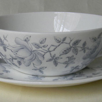 Soft Gray ish Silver Toile Roses Vintage English Transferware Handled Soup Bowl and Plate