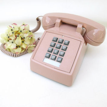 Vintage Push Button Phone, Old Telephone, Desk Phone / Touch Tone Phone / Working Telephone