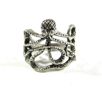 Octopus Ring Sea Monster Squid RI15 Kraken Steampunk Antique Silver Tone Fashion Jewelry