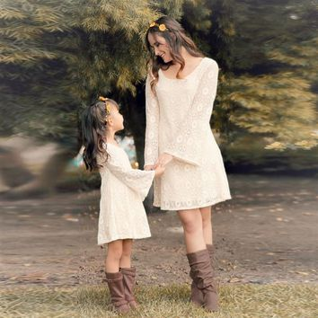 Mother &  Daughter Matching Hollow Out  Long Sleeve Lace Dresses
