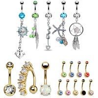 BodyJ4You 17 Belly Button Rings Dangle Bar 14G Steel Created-Opal Mix CZ Navel Body Jewelry
