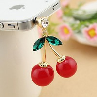Cute Cherry Rhinestone phone plug earphone dust plug lovely phone accessories for iphone xiaomi huawei