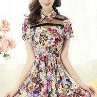 Semi-sheer Yoke Floral Dress - OASAP.com