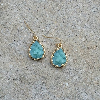 Blue Druzy Drop Earrings