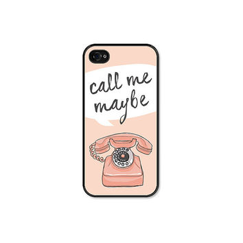 Call me Maybe Vintage Phone iPhone 5 Case - iPhone 5 Skin - Peach Pink Black iPhone 5 Cover Cell Phone
