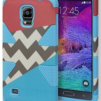 Samsung Galaxy Note 4, Hybrid Blue Silicone with Pink Blue and Chevron Case