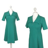 Aqua Green Vintage Dress | Green 1970's Dress | 70's Day Dress With Short Sleeves And Collar