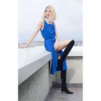 Electric blue side slit dress