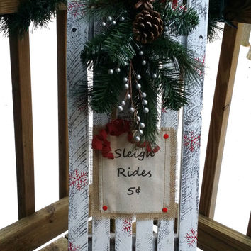 Distressed Wooden Sled with Pine Bough, Snowflakes and Glitter, Christmas Sign, Rustic Winter Decor, Primitive Holiday Decor