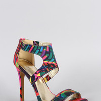 Liliana Watercolor Cutout Stiletto Heel Color: Multi, Size: 7.5