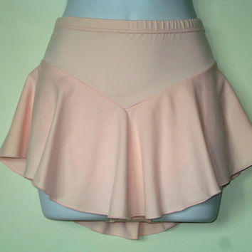Figure Skating Skirt, Soft Pink, Soft to the Touch Fabric, Girls Large, Attached Brief, Hair Tie, Baton, Dance, Roller Skating, Ice Skater