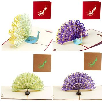 2017 Pop Up 3D Card Peacock Design Birthday Wedding Party Greeting Card apr19_35