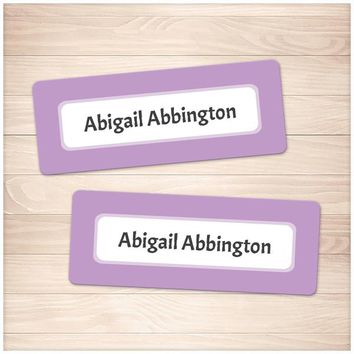 Purple Border Name Labels for School Supplies - Printable