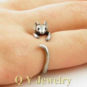 Silver Boho Chic Brass Knuckle Girl's Burnished Mouse  Tiny Mid Finger Mouse Ring