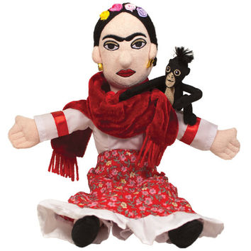 "Frida Kahlo 11"" Plush Doll with Monkey"