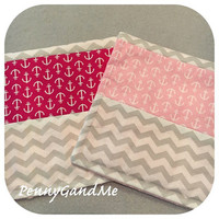 Personalized Girls Burp Cloths, Girls Nautical Burp Cloths, Anchor Burp Cloths, Minky, Pink, Bright Pink, Chevron