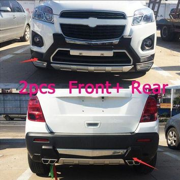 DCCKFS2 lane legend case For Chevrolet TRAX 2014-2016 Front+ Rear Bumper Diffuser Bumpers Lip Protector Guard skid plate Chrome finish