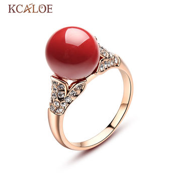 KCALOE Red Coral Rings Austrian Crystal Engagement Women Jewelry Silver Plated Rose Gold Round Ball Natural Stone Ring Anillos