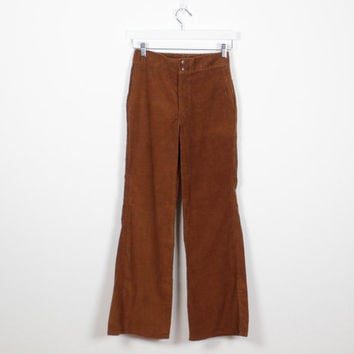 Vintage 1970s Bell Bottoms Brown Corduroy Pants 70s Bello Bottom Pants WRANGLER Brand Flared Hem Hippie Pants Mod Slacks XS S Extra Small
