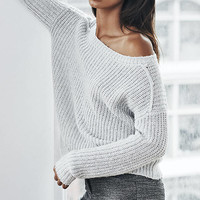 Gray Open Back Shaker Knit Sweater from EXPRESS