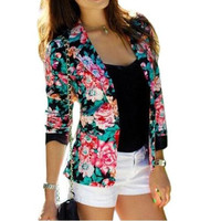Plus Size Women Blazer Suits Slim Floral Blazer Suit Jacket Outwear Long Sleeve Women Jacket Coat GV313