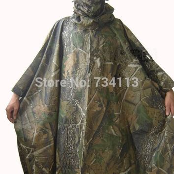 Rain Poncho Cycling Camping Hiking Plastic Raincoat Tent Mat Rain wear Tactical Airsoft Sniper Hunting Realtree Adult PVC