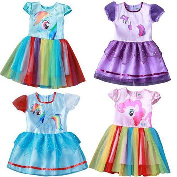 DCCKH6B New Hot Sale  Baby Girl Dress Children Girl little Pony Dresses Cartoon Princess Party Costume Kids Clothes Summer Clothing