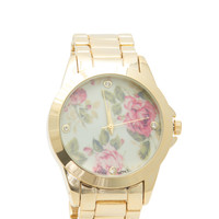 Shiny Floral Face Boyfriend Watch