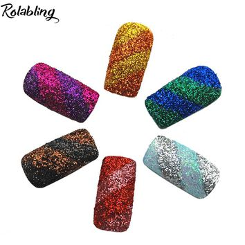 Rolabling 12pots/set Nail Shimmer Decoration Nail Glitter Dust UV Gel Shining Crafts 12 Colors With Pots For Manicure Design