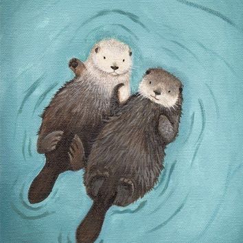 Otters Holding Hands Cute Otter Art print by WhenGuineaPigsFly