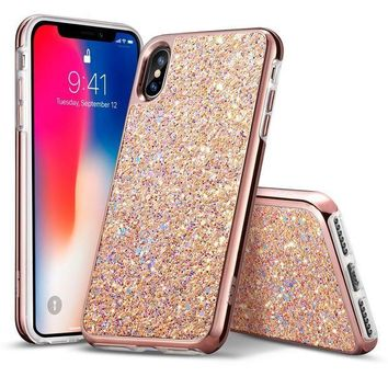 MDIG2JE iPhone X Case, ESR Glitter Bling Hard Cover with Dual Layer Structure [Hard PC Back Outer + Soft TPU Inner] for Girls Women [Support Wireless Charging] for iPhone X /iPhone 10 (2017)(Metallic Peach)