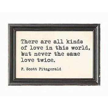 Authors and Artists Famous Quotations - Decorative Framed Wall Decor 9-in x 6-in (F. Scott Fitzgerald)