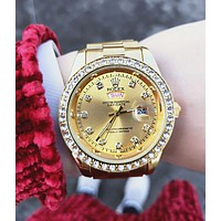 Rolex  Fashion Couple Delicate Diamond Business Movement Watch Stainless Steel Wristwatch Golden I/A