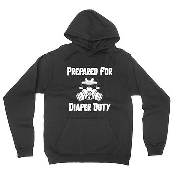New dad, prepared for diaper duty pregnancy announcement hoodie