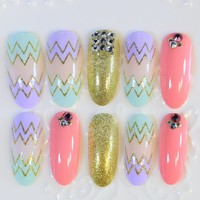 24pcs Nails Kit Long Fake Nails Sawtooth Design Nail Art False Nail Tips Round Full Cover Press On Nails Pink Gold Z281