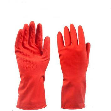 Household Rubber Gloves Solid Color Red Ultra thin Short Sleeve Glove KeEP warm for Dish Washing 520003
