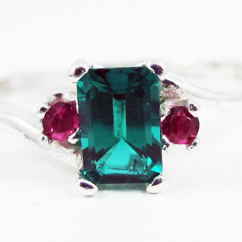 Emerald and Ruby Accent Ring Sterling Silver, May and July Birthstone Ring, Emerald Ruby Ring, Lab Emerald Ring, Sterling Silver Ring